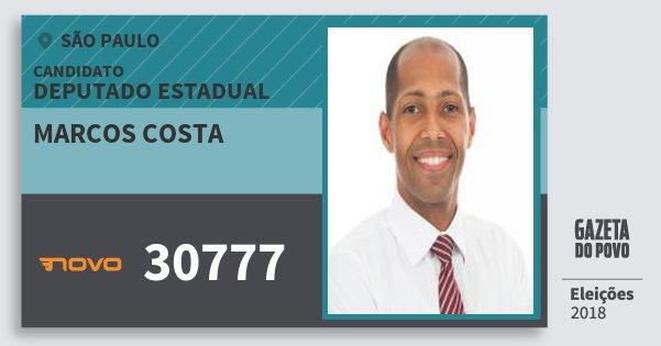 Santinho Marcos Costa 30777 (NOVO) Deputado Estadual | São Paulo | Eleições 2018