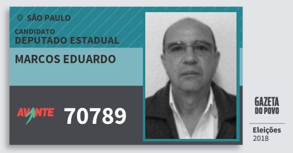 Santinho Marcos Eduardo 70789 (AVANTE) Deputado Estadual | São Paulo | Eleições 2018