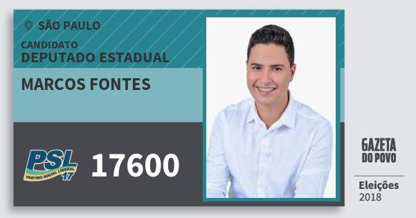 Santinho Marcos Fontes 17600 (PSL) Deputado Estadual | São Paulo | Eleições 2018