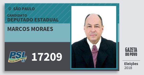 Santinho Marcos Moraes 17209 (PSL) Deputado Estadual | São Paulo | Eleições 2018