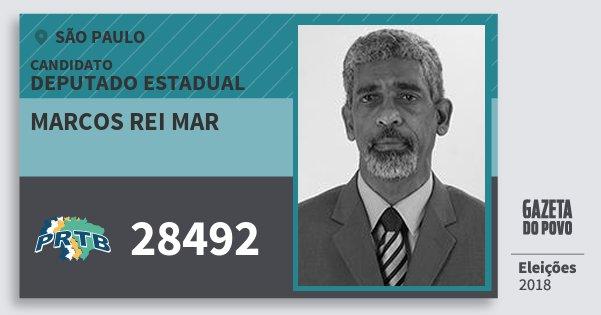 Santinho Marcos Rei Mar 28492 (PRTB) Deputado Estadual | São Paulo | Eleições 2018