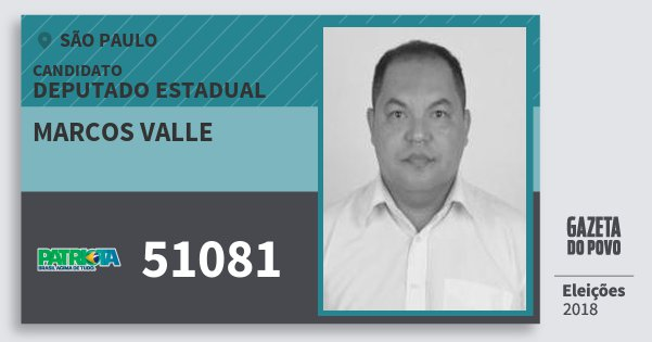 Santinho Marcos Valle 51081 (PATRI) Deputado Estadual   São Paulo   Eleições 2018