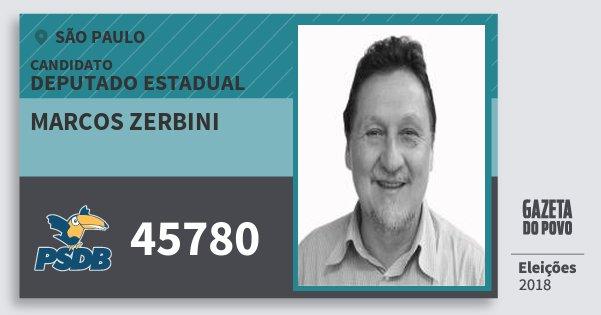 Santinho Marcos Zerbini 45780 (PSDB) Deputado Estadual   São Paulo   Eleições 2018