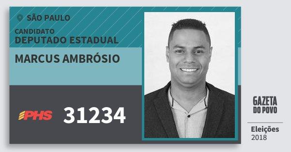 Santinho Marcus Ambrósio 31234 (PHS) Deputado Estadual | São Paulo | Eleições 2018