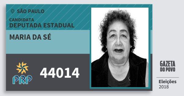 Santinho Maria da Sé 44014 (PRP) Deputada Estadual | São Paulo | Eleições 2018