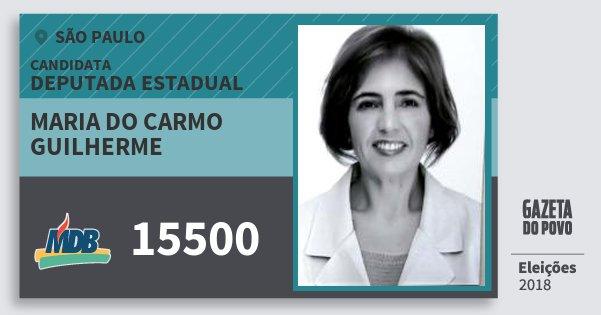 Santinho Maria do Carmo Guilherme 15500 (MDB) Deputada Estadual | São Paulo | Eleições 2018