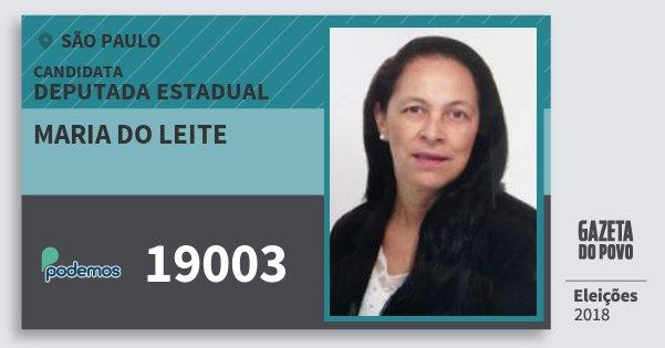 Santinho Maria do Leite 19003 (PODE) Deputada Estadual | São Paulo | Eleições 2018