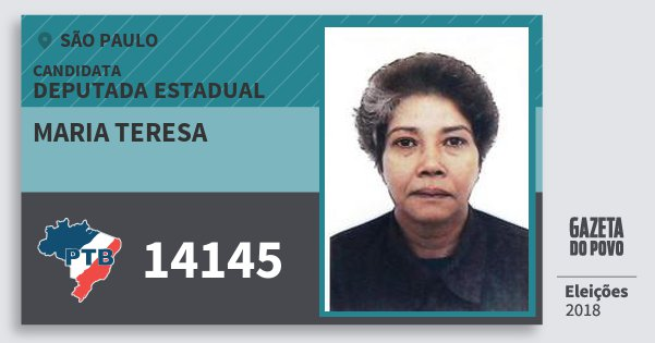 Santinho Maria Teresa 14145 (PTB) Deputada Estadual | São Paulo | Eleições 2018