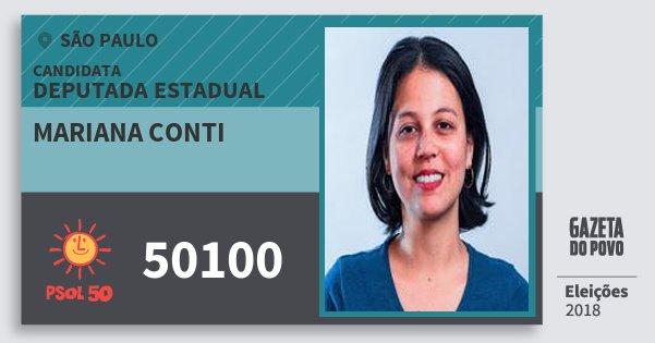 Santinho Mariana Conti 50100 (PSOL) Deputada Estadual | São Paulo | Eleições 2018