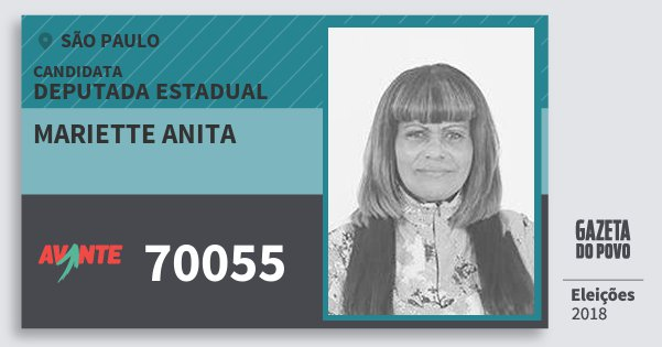 Santinho Mariette Anita 70055 (AVANTE) Deputada Estadual | São Paulo | Eleições 2018