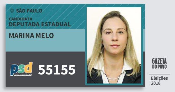 Santinho Marina Melo 55155 (PSD) Deputada Estadual | São Paulo | Eleições 2018