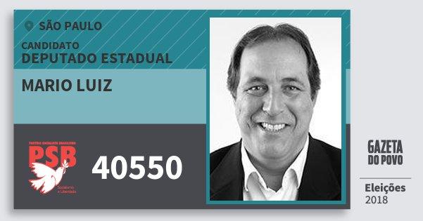 Santinho Mario Luiz 40550 (PSB) Deputado Estadual | São Paulo | Eleições 2018