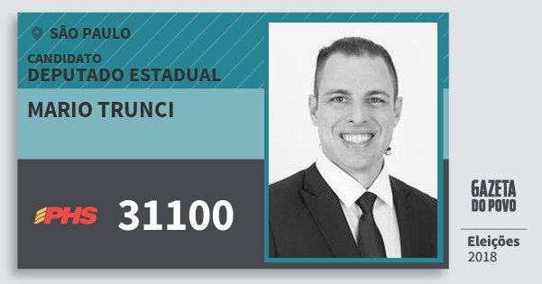 Santinho Mario Trunci 31100 (PHS) Deputado Estadual | São Paulo | Eleições 2018