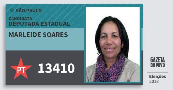 Santinho Marleide Soares 13410 (PT) Deputada Estadual   São Paulo   Eleições 2018