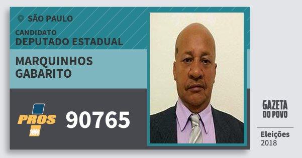 Santinho Marquinhos Gabarito 90765 (PROS) Deputado Estadual | São Paulo | Eleições 2018