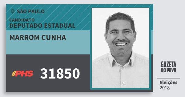 Santinho Marrom Cunha 31850 (PHS) Deputado Estadual | São Paulo | Eleições 2018