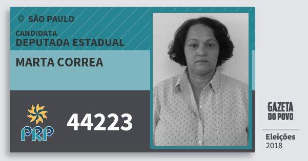Santinho Marta Correa 44223 (PRP) Deputada Estadual   São Paulo   Eleições 2018