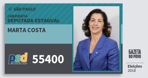 Santinho Marta Costa 55400 (PSD) Deputada Estadual   São Paulo   Eleições 2018