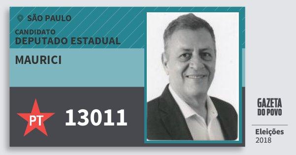 Santinho Maurici 13011 (PT) Deputado Estadual | São Paulo | Eleições 2018