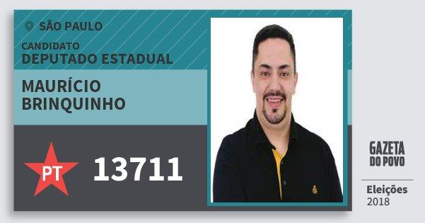 Santinho Maurício Brinquinho 13711 (PT) Deputado Estadual | São Paulo | Eleições 2018