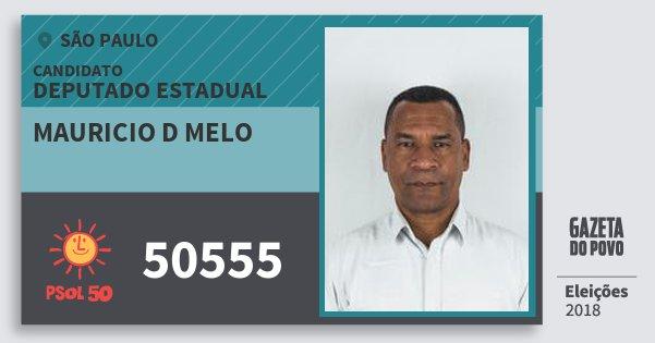 Santinho Mauricio D Melo 50555 (PSOL) Deputado Estadual | São Paulo | Eleições 2018