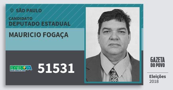 Santinho Mauricio Fogaça 51531 (PATRI) Deputado Estadual | São Paulo | Eleições 2018