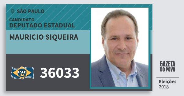Santinho Mauricio Siqueira 36033 (PTC) Deputado Estadual   São Paulo    Eleições 2018 4ffc6db8b6
