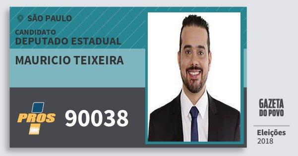 Santinho Mauricio Teixeira 90038 (PROS) Deputado Estadual | São Paulo | Eleições 2018