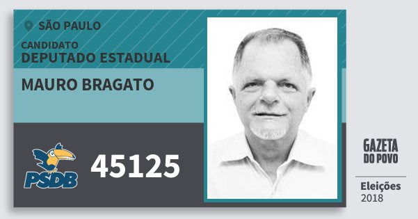Santinho Mauro Bragato 45125 (PSDB) Deputado Estadual | São Paulo | Eleições 2018