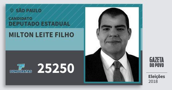 Santinho Milton Leite Filho 25250 (DEM) Deputado Estadual | São Paulo | Eleições 2018