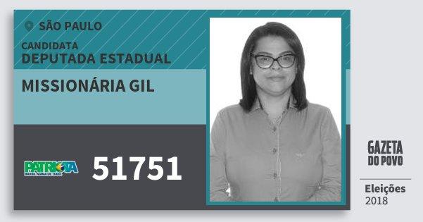 Santinho Missionária Gil 51751 (PATRI) Deputada Estadual   São Paulo   Eleições 2018