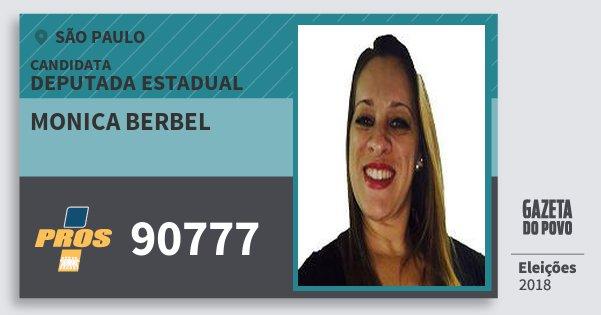 Santinho Monica Berbel 90777 (PROS) Deputada Estadual | São Paulo | Eleições 2018