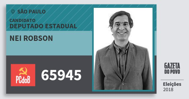 Santinho Nei Robson 65945 (PC do B) Deputado Estadual | São Paulo | Eleições 2018