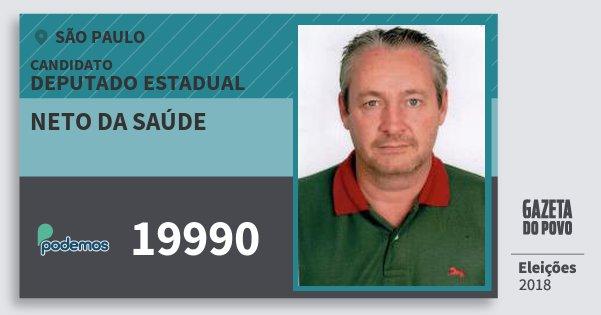 Santinho Neto da Saúde 19990 (PODE) Deputado Estadual | São Paulo | Eleições 2018