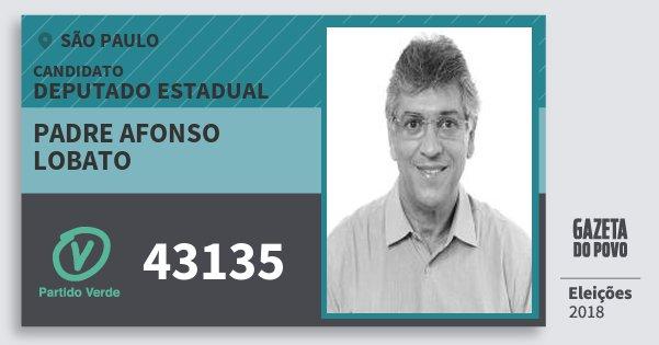 Santinho Padre Afonso Lobato 43135 (PV) Deputado Estadual | São Paulo | Eleições 2018