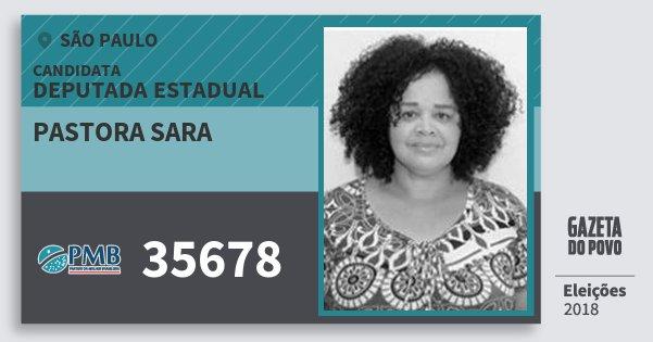 Santinho Pastora Sara 35678 (PMB) Deputada Estadual | São Paulo | Eleições 2018