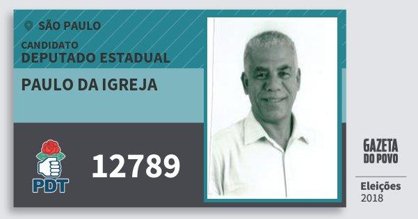 Santinho Paulo da Igreja 12789 (PDT) Deputado Estadual | São Paulo | Eleições 2018