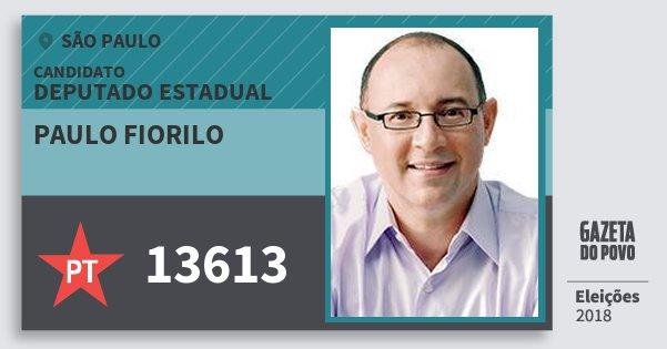 Santinho Paulo Fiorilo 13613 (PT) Deputado Estadual   São Paulo   Eleições 2018