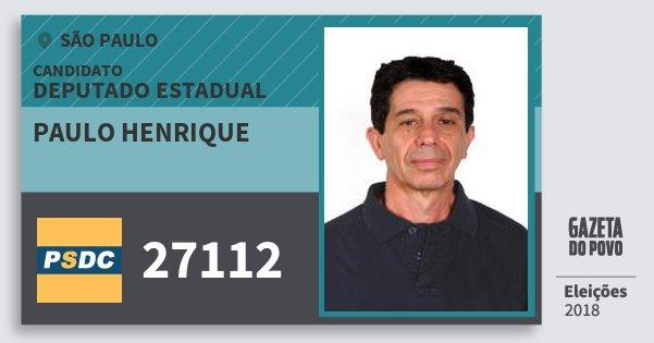 Santinho Paulo Henrique 27112 (DC) Deputado Estadual | São Paulo | Eleições 2018