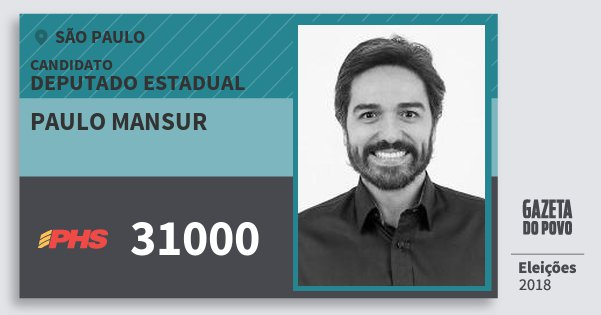 Santinho Paulo Mansur 31000 (PHS) Deputado Estadual | São Paulo | Eleições 2018