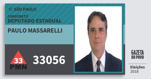 Santinho Paulo Massarelli 33056 (PMN) Deputado Estadual | São Paulo | Eleições 2018