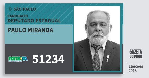 Santinho Paulo Miranda 51234 (PATRI) Deputado Estadual | São Paulo | Eleições 2018