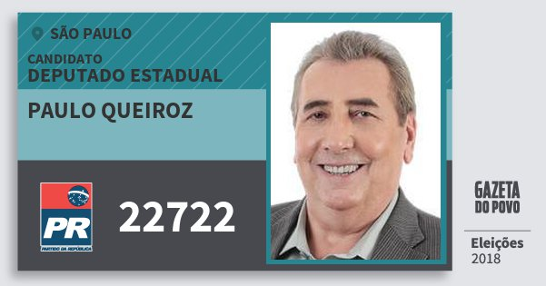 Santinho Paulo Queiroz 22722 (PR) Deputado Estadual | São Paulo | Eleições 2018