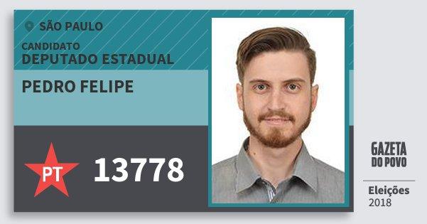Santinho Pedro Felipe 13778 (PT) Deputado Estadual   São Paulo   Eleições 2018