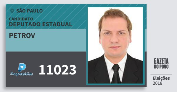 Santinho Petrov 11023 (PP) Deputado Estadual   São Paulo   Eleições 2018