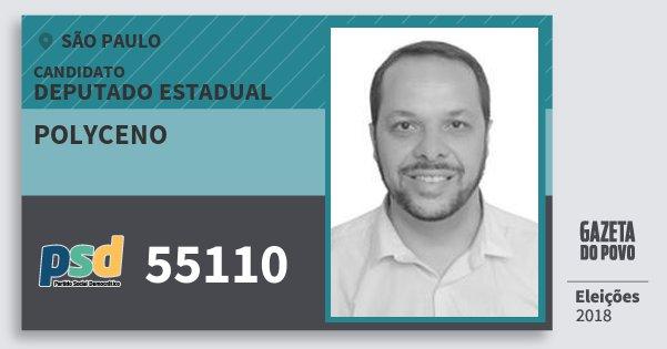 Santinho Polyceno 55110 (PSD) Deputado Estadual | São Paulo | Eleições 2018