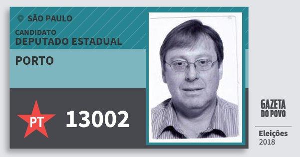 Santinho Porto 13002 (PT) Deputado Estadual | São Paulo | Eleições 2018