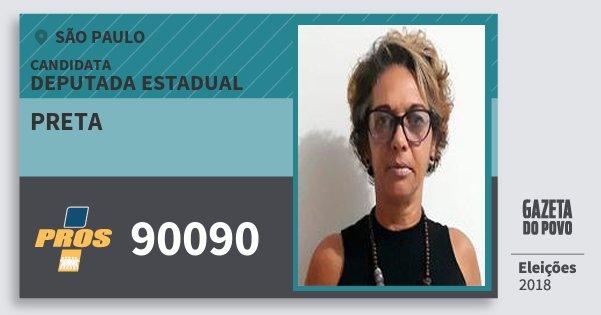 Santinho Preta 90090 (PROS) Deputada Estadual | São Paulo | Eleições 2018