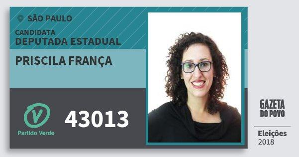 Santinho Priscila França 43013 (PV) Deputada Estadual   São Paulo   Eleições 2018