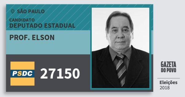 Santinho Prof. Elson 27150 (DC) Deputado Estadual | São Paulo | Eleições 2018